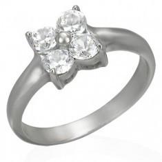 Inel din oțel cu zirconii în formă de floare foto