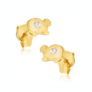 Cercei realizaţi din aur 585 -broscuţe ţestoase mici şi lucioase cu diamant transparent pe carapace