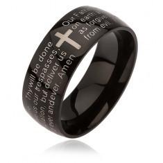 Inel negru din oțel, cruce argintie, rugăciunea Domnului