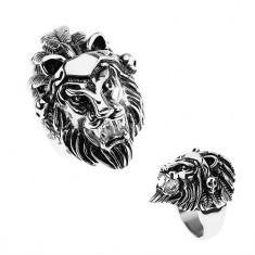 Inel argintiu din oţel 316L, cap de leu, bentiţă cu pene, craniu