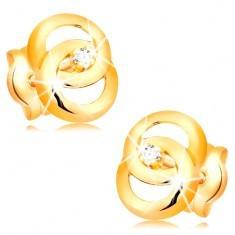 Cercei aur galben 14K - două cercuri unite, diamant în mijloc