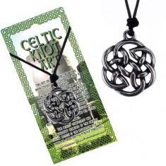 Colier din șnur negru, pandantiv din metal, floare din nod celtic foto