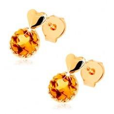 Cercei cu şurub din aur galben 9K - inimă mică bombată, citrin galben rotund