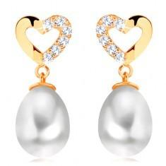 Cercei din aur galben 14K - contur inimă cu diamante, perlă ovală