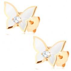 Cercei din aur 375 - fluture mic, aripi acoperite cu vopsea albă, zirconiu transparent