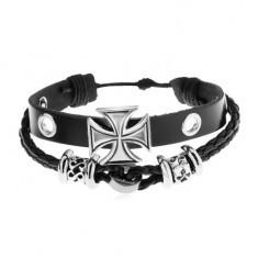 Brăţară realizată din piele sintetică de culoare neagră, mărgele din oţel, cruce Malteză