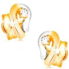 Cercei din aur 14K - contur de lacrimă în două culori cu un diamant strălucitor
