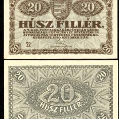 UNGARIA BANCNOTA DE 20 FILLER 1920 NECIRCULATA UNC