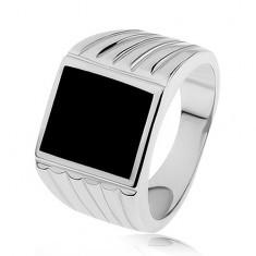 Inel argint 925, braţe cu adâncituri, dreptunghi negru smălţuit