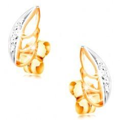 Cercei din aur de 14K - frunze bicolore cu zirconii transparente