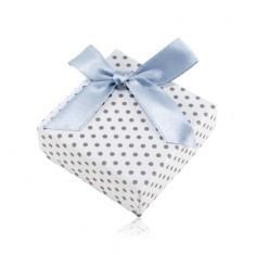 Cutie pentru cercei sau două inele, suprafață albă, puncte gri și panglică strălucitoare
