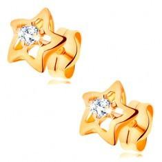 Cercei din aur de 14K - stele lucioase cu zirconiu transparent în mijloc