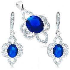 Set din argint 925, pandantiv și cercei, floare - zirconiu oval albastru, petale transparente