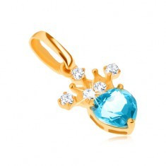 Pandantiv din aur galben 14K, coroană zirconiu, topaz albastru în formă de inimă