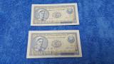 Lot 2 bancnote seri consecutive 5 lei 1952