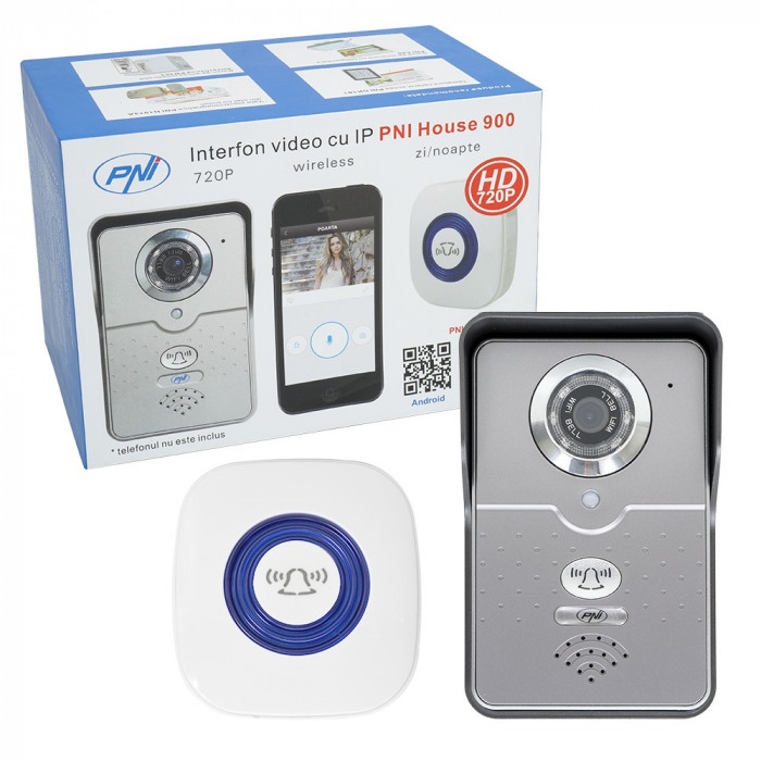 Resigilat : Interfon video cu IP PNI House 900 wireless P2P card si vizualizare pe
