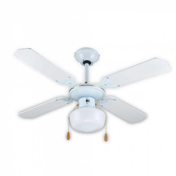 Ventilator de tavan cu lustra, Lampa, SAPIR SP 1760 4C1L, 50W, 106 cm, 3 trepte, Alb