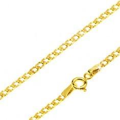 Lanț din aur galben 14K - zale ovale plate găurite, 440 mm
