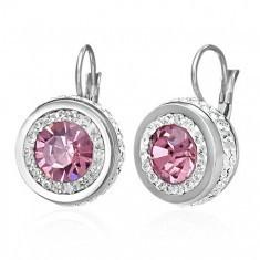 Cercei din oțel 316L cu zirconiu mare roz înconjurat de zirconii mici transparente