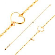 Brățară din aur de 14K - inimă albă asimetrică și zirconiu transparent, lanț îngust