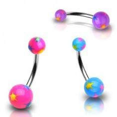 Piercing pentru buric – bilă cu stele colorate