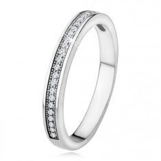Verighetă din argint 925, model îngust, linie orizontală cu ştrasuri transparente