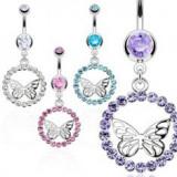 Piercing pentru buric realizat din oțel inoxidabil - inel din zirconiu, fluture de culoare argintie