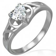 Inel de logodnă cu nod cu un zirconiu în formă de inimă foto