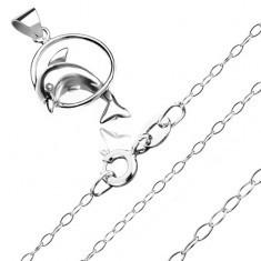 Colier din argint 925 - cerc cu delfin săltăreț, lanț cu zale mici