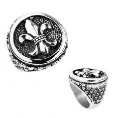 Inel argintiu din oţel, Fleur de Lis patinat, într-un cerc, inimi