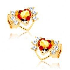 Cercei din aur galben 9K - contur subţire de inimă cu zirconii, citrin galben