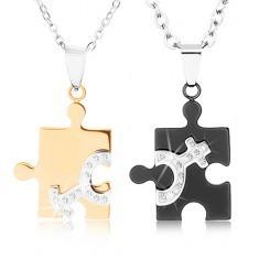 Coliere realizate din oțel 316L pentru cuplu, piese de puzzle în două nuanțe foto