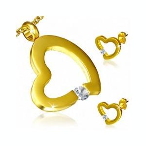 Set auriu din oțel - cercei și pandantiv, contur inimă neregulată, zirconiu