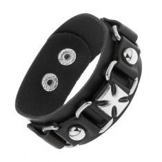 Brățară din piele sintetică de culoare neagră, ovaluri lucioase din oțel, cruce Malteză