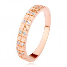 Inel din argint 925, arămiu, model de diamant, zirconiu transparent