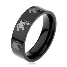 Inel negru din oțel, capete de lupi argintii, 6 mm