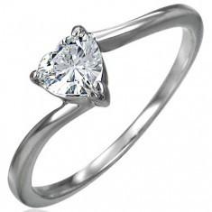 Inel de logodnă din oțel inox, inimă din zirconiu, brațe ondulate, înguste foto