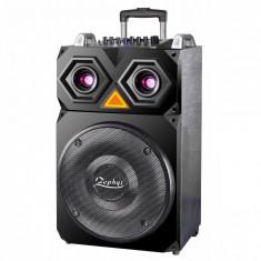 Boxa Karaoke ZEPHYR ZP 9999 F15, 15 inch, 800W, Baterie, Bluetooth, MP3, 2 Microfoane Wireless, Distanta, Negru