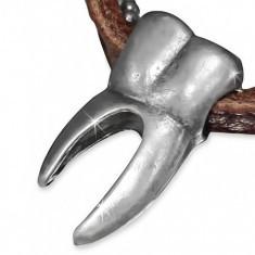 Colier din piele - bandă maro, lanţ militar, măsea