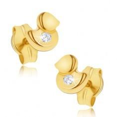 Cercei din aur galben 14K - rățuște lucioase, zirconiu transparent