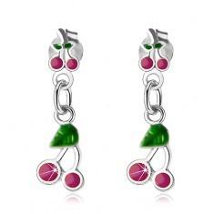 Cercei care atârnă, din argint 925, cireșe cu smalț verde și roz-mov