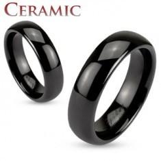 Verighetă neagră din ceramică, suprafață netedă și lucioasă, 6 mm