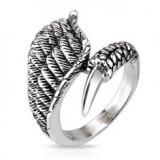Inel din oțel inoxidabil, argintiu, patină, aripă, gheară