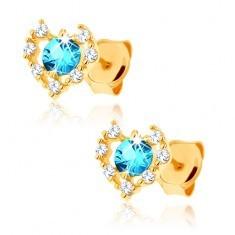 Cercei din aur galben 14K - contur inimă zirconii transparente, topaz albastru