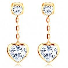 Cercei din aur galben 14K - două inimi transparente, lanţ din ochiuri ovale