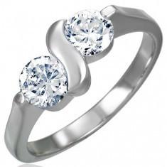 Inel de logodnă realizat din oțel chirurgical cu două zirconii cu litera S
