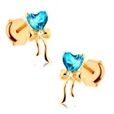 Cercei din aur galben 375 - fundiţă lucioasă, inimă topaz albastru