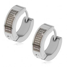 Cercei lucioși realizați din oțel 316L de culoare argintie - puncte negre