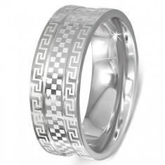 Inel din oțel - bandă cu cheie grecească și tablă de șah