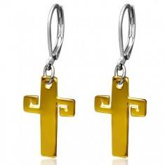 Cercei aurii din oţel, cruce cu cheie grecească